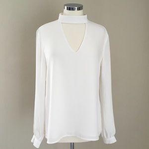 Wayf White Choker Blouse - Size Medium